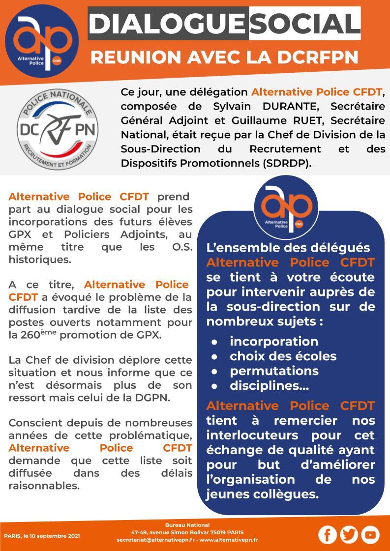 Dialogue Social : Réunion à la DCRFPN