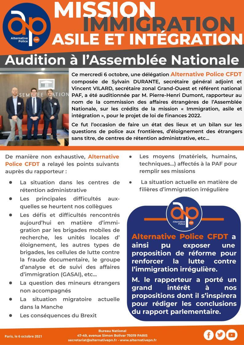 audition à l'Assemblée Nationale par la mission immigration, asile et intégration