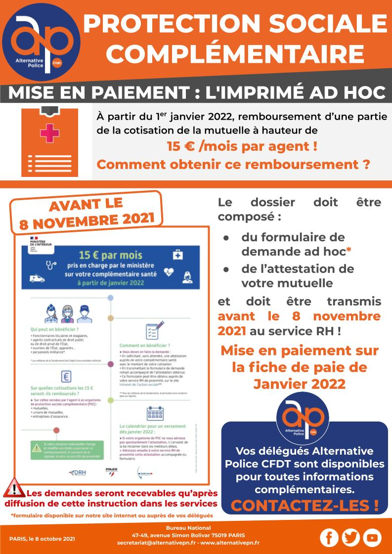 Protection Sociale Complémentaire - mise en paiement : l'imprimé ad hoc !