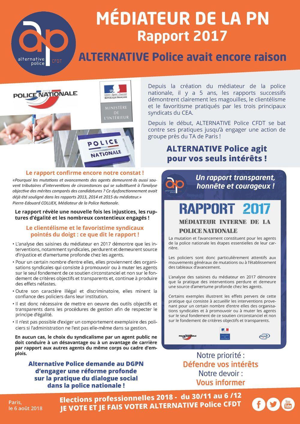 Rapport du médiateur 2017