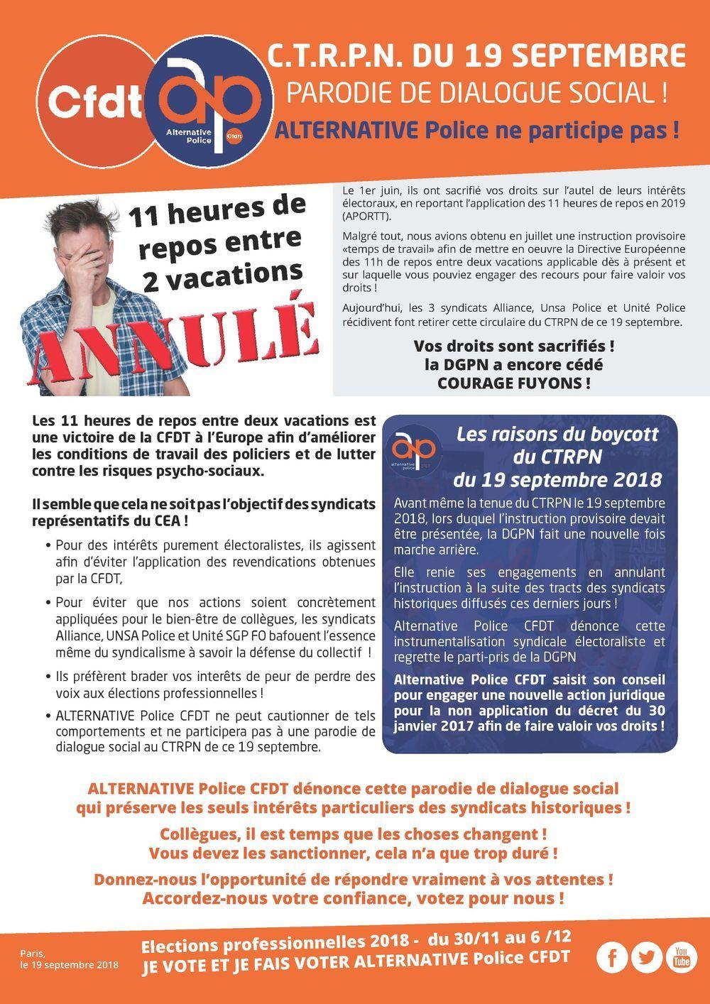 Tems de travail - CTRPN du 19 septembre