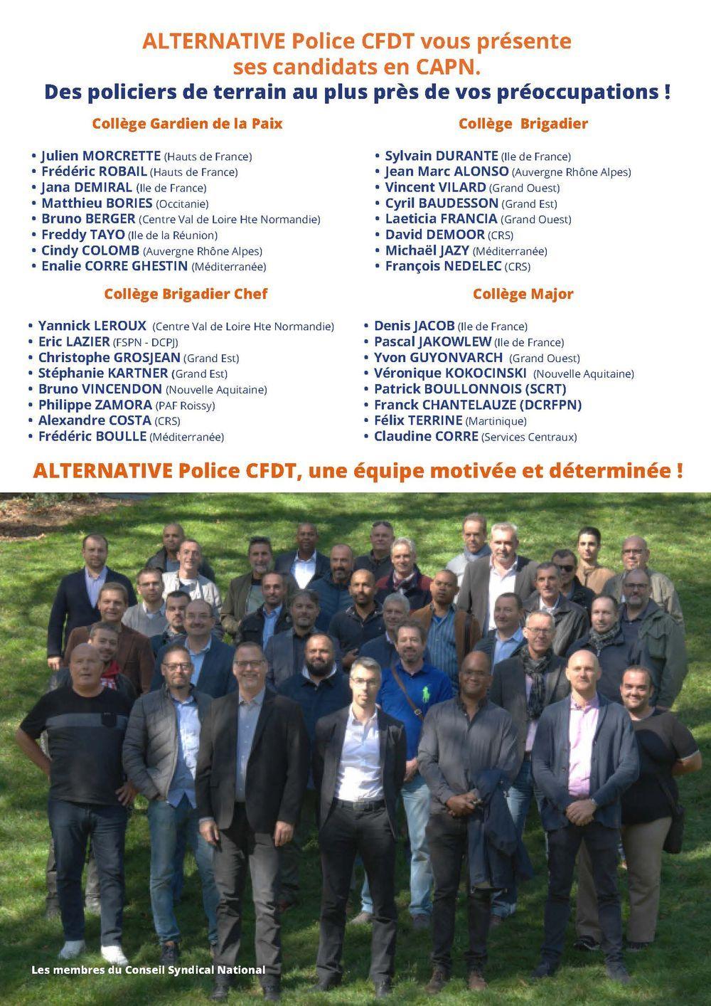 Elections professionnelles : nos candidats à la CAPN