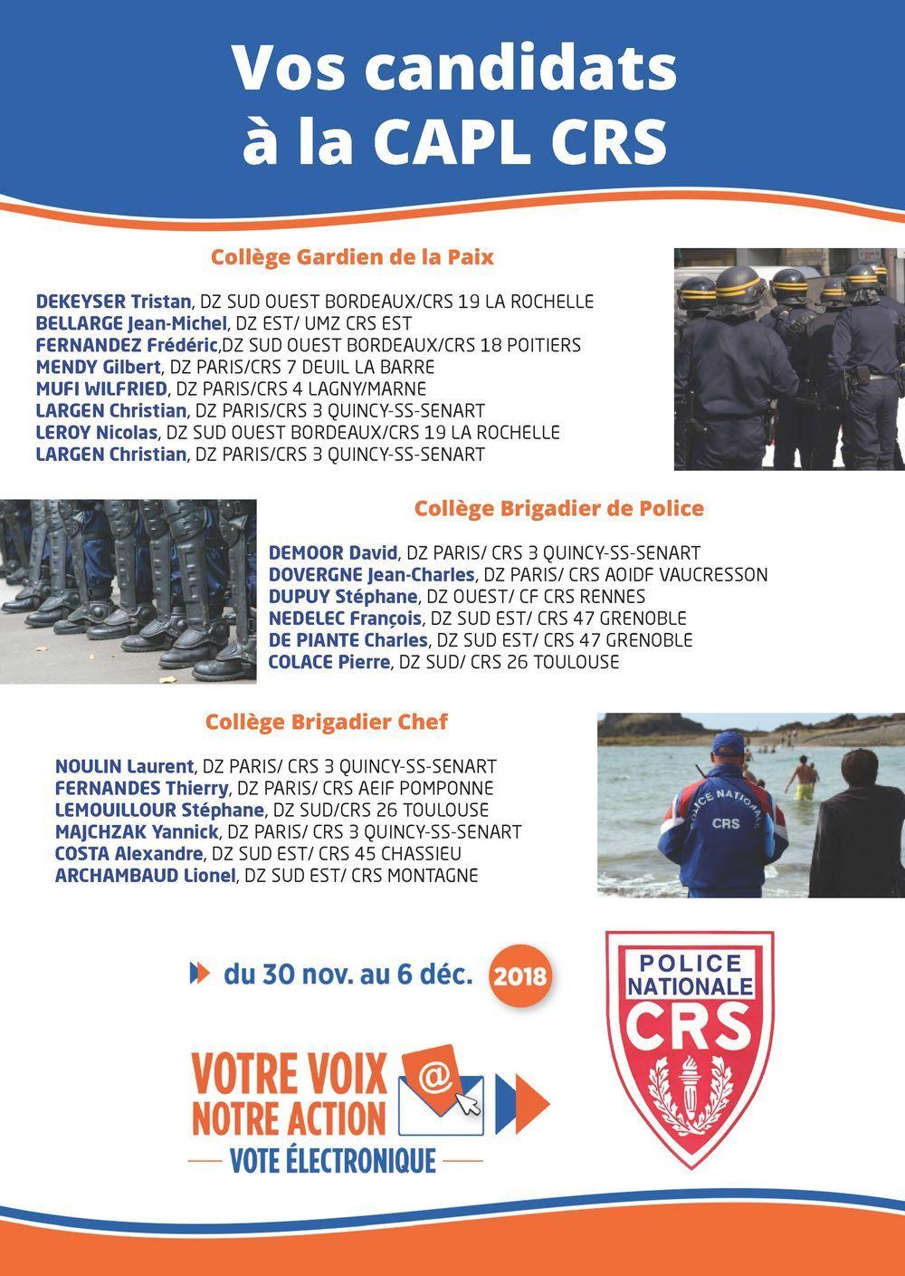 Elections professionnelles : nos candidats à la CAPL CRS