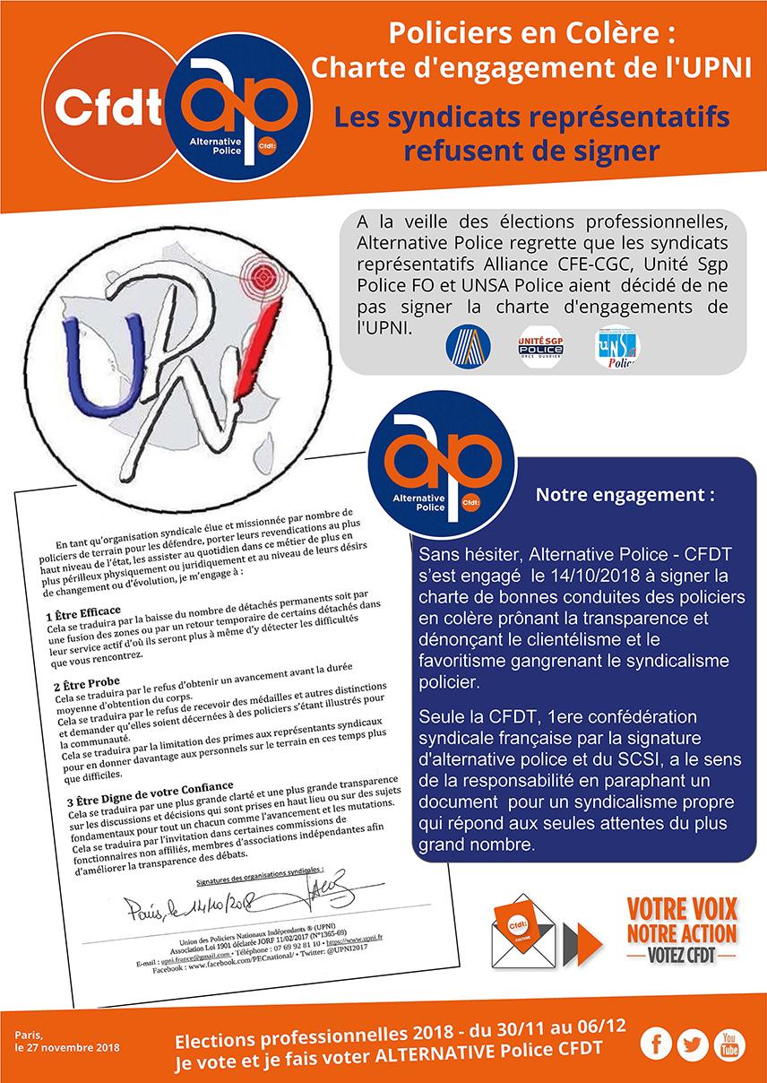 Policiers en Colère : Charte d'engagement de l'UPNI