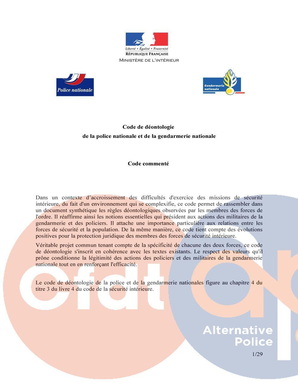 Déontologie de la police nationale et de la gendarmerie nationale