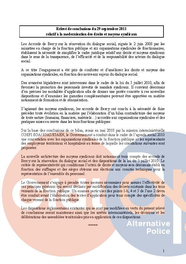 Protocole du 29 septembre 2009