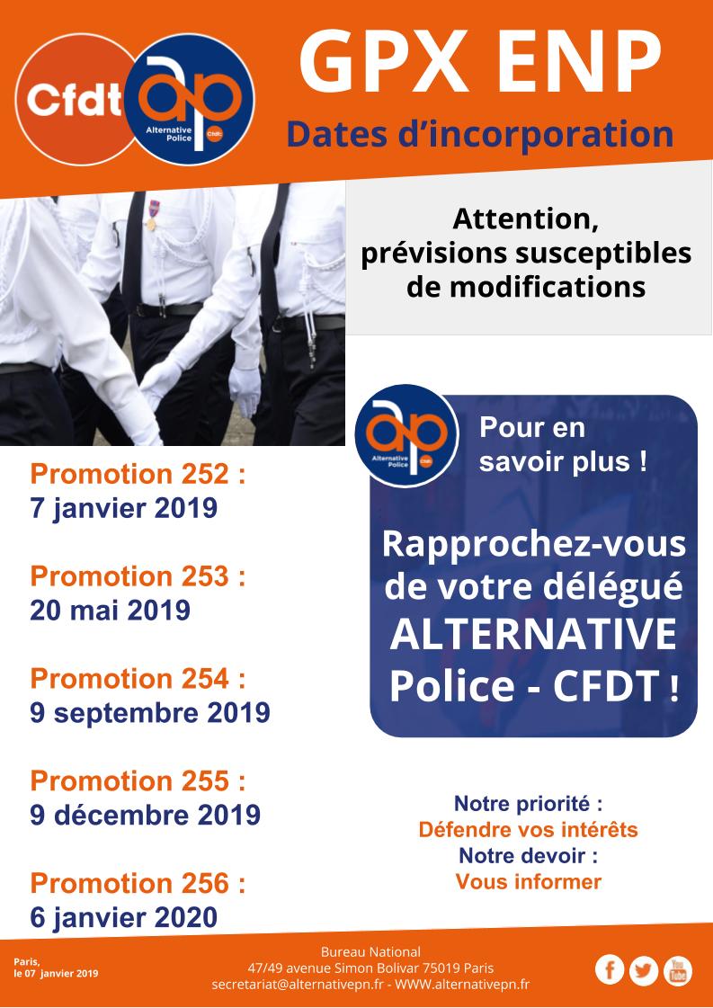 Dates d'incorporation en Ecole Nationale de Police pour les Gardiens de la Paix