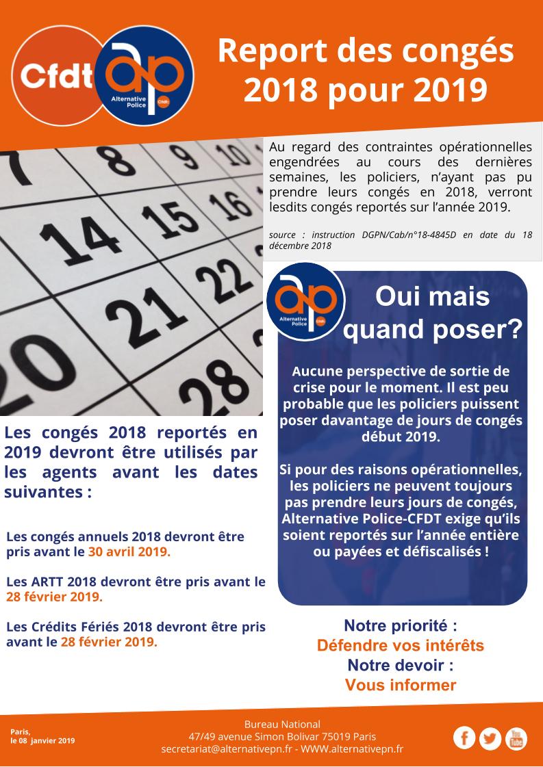 Report des congés 2018 pour 2019