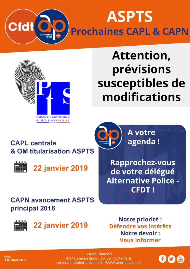 ASPTS : prochaines CAPL & CAPN