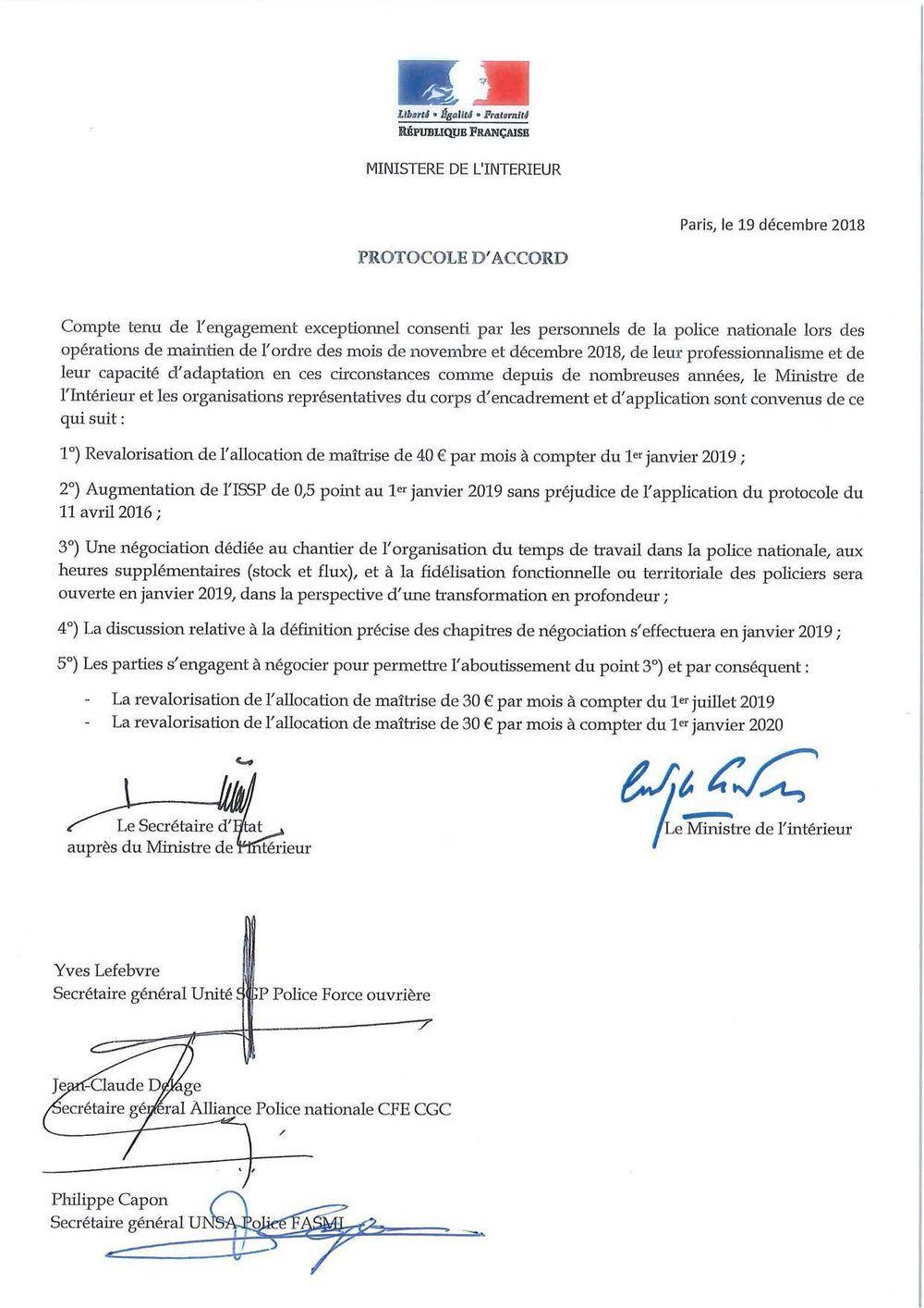 Protocole d'accord du 19 décembre 2018