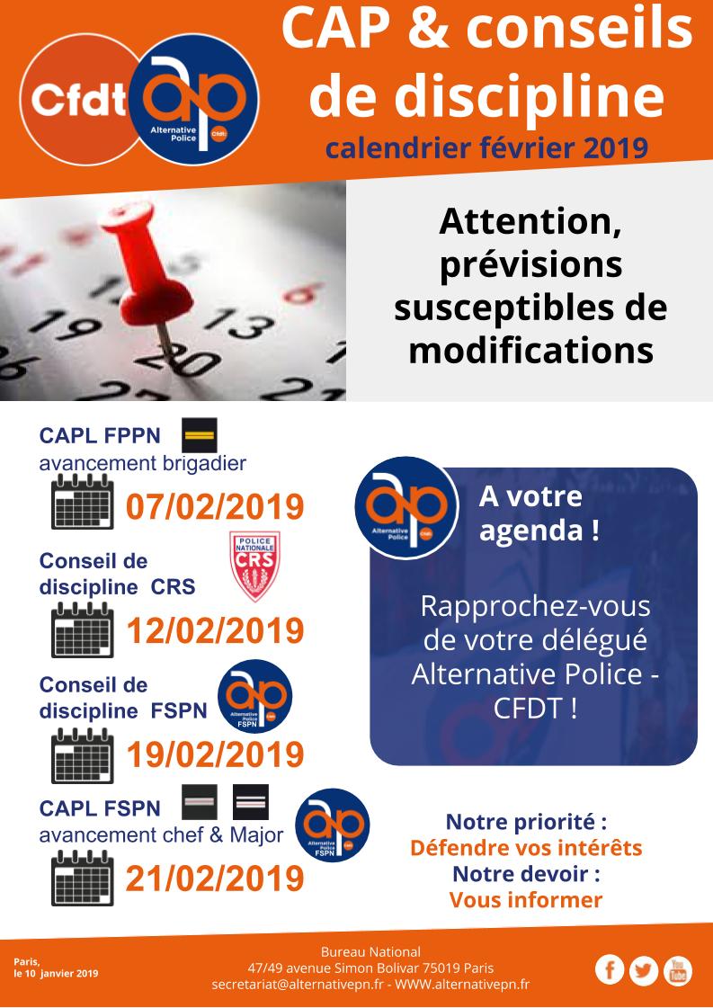 CAP & conseils de discipline : calendrier février 2019