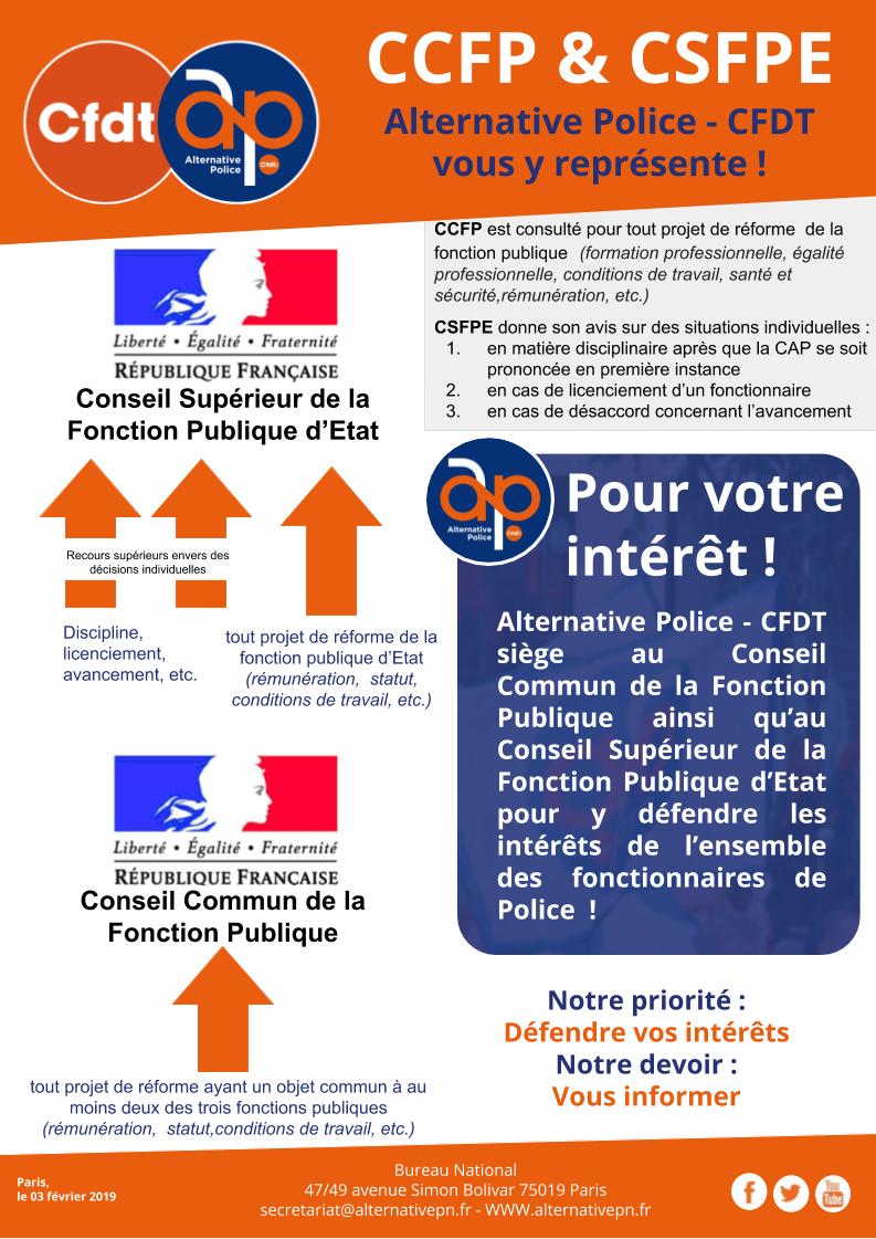 CCFP & CSFPE : Alternative Police - CFDT vous y représente !
