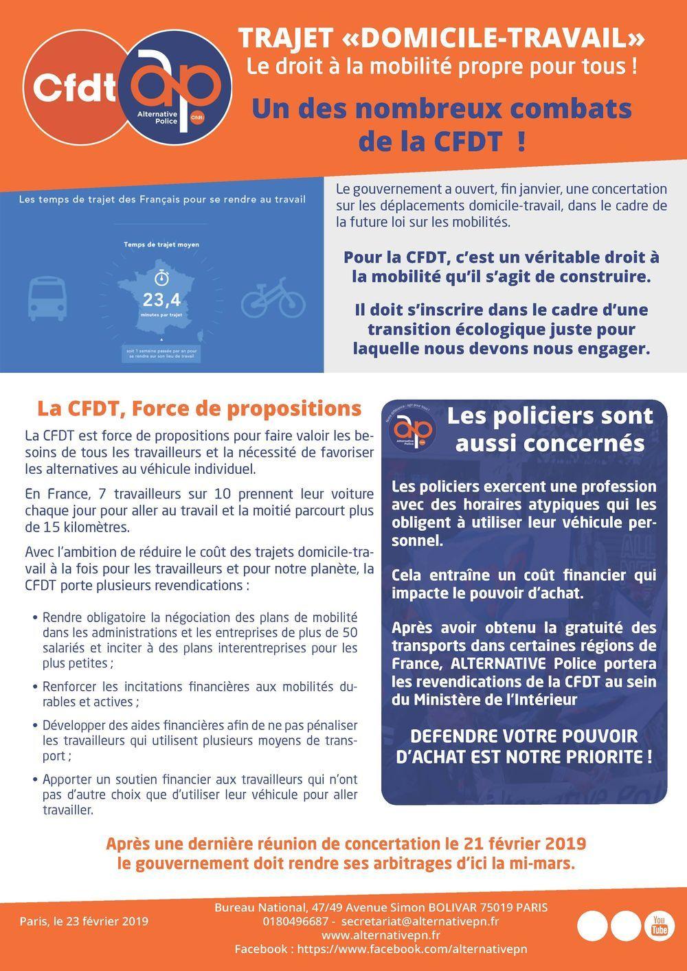 """Trajet """"Domicile-Travail : Le droit à la mobilité propre pour tous !"""