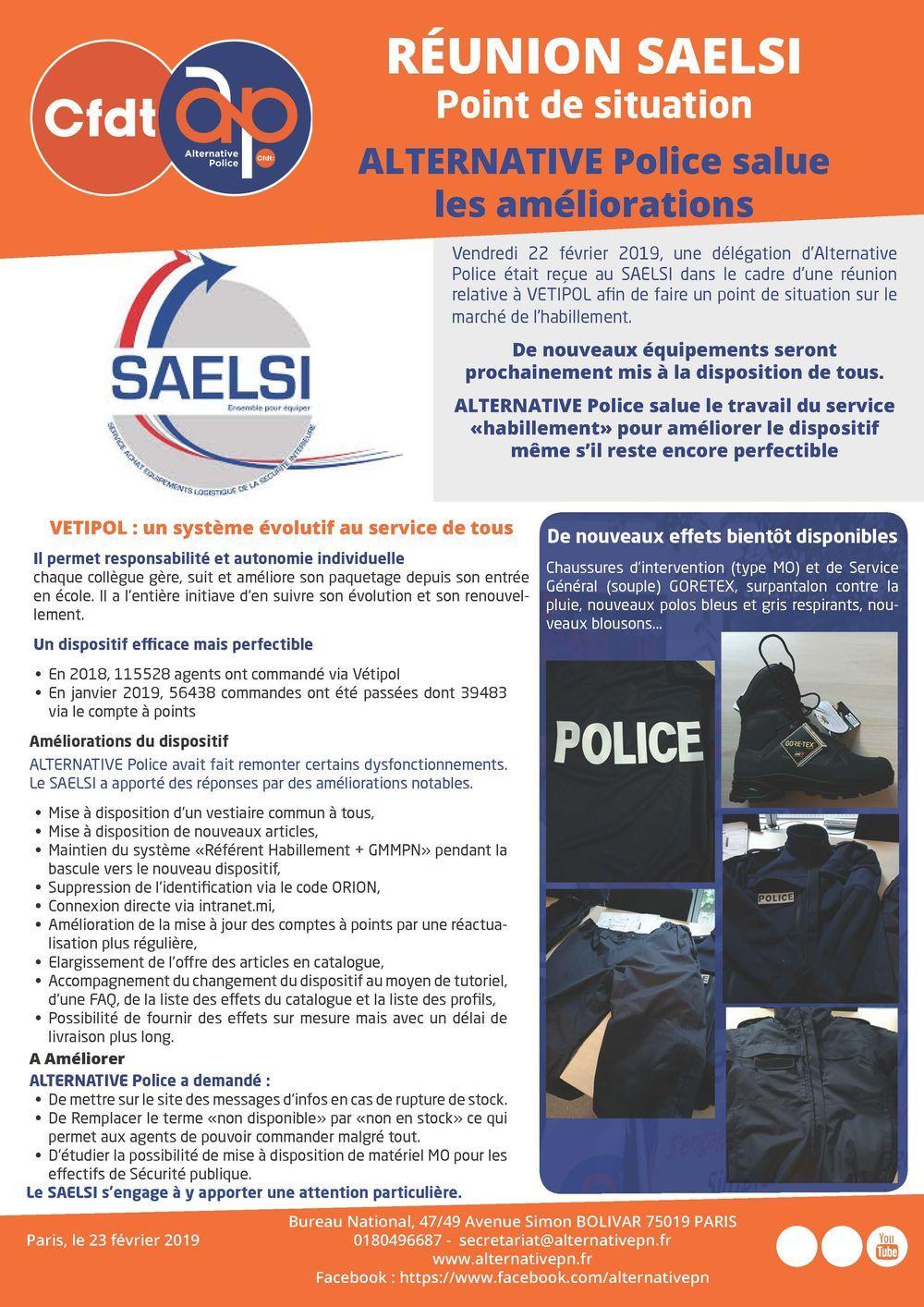 Réunion SAELSI : Point de situation