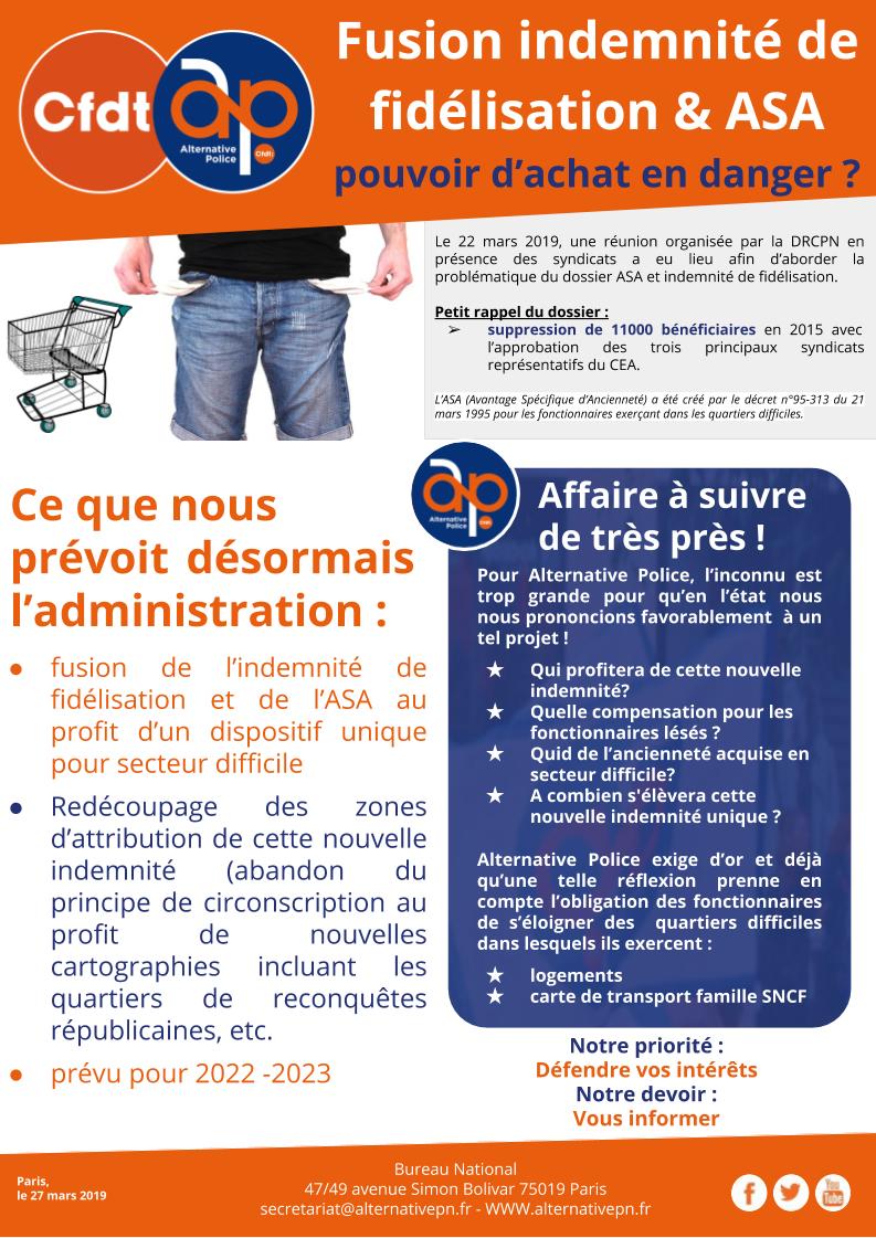 Fusion indemnité de fidélisation & ASA :
