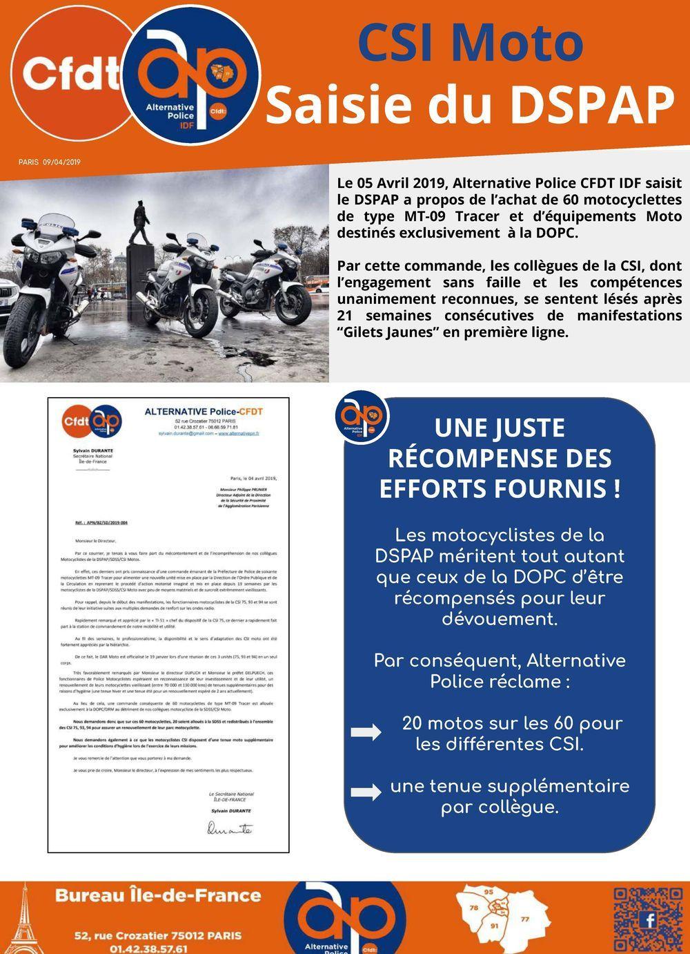 CSI Moto : saisie du DSAP