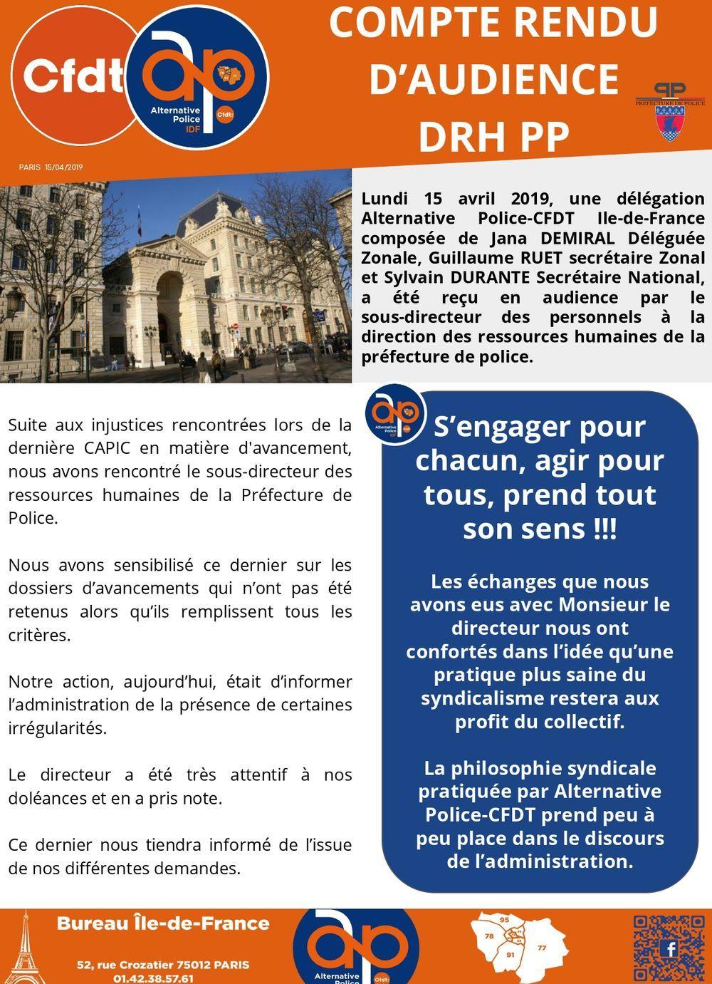 COMPTE RENDU D'AUDIENCE DRH PP