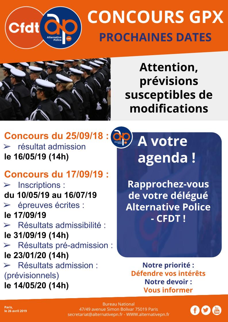 CONCOURS GARDIEN DE LA PAIX : PROCHAINES DATES