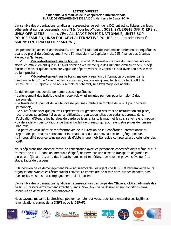 DÉMÉNAGEMENT DE LA DCI.