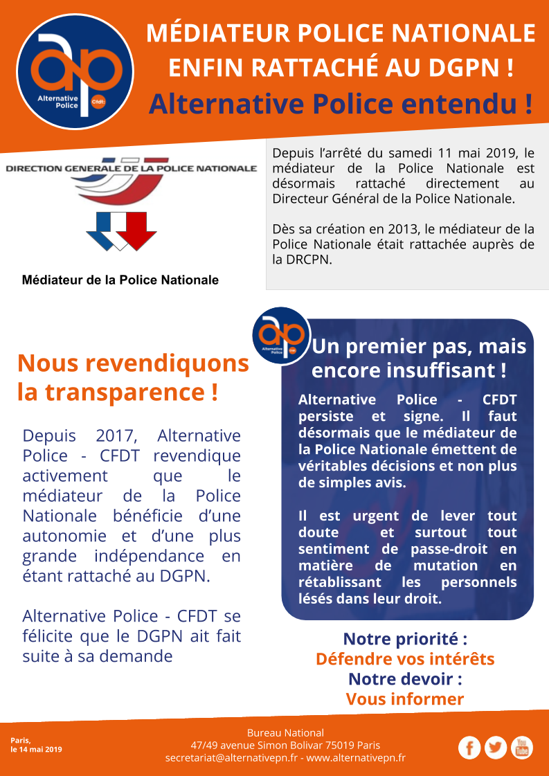 MÉDIATEUR POLICE NATIONALE ENFIN RATTACHÉ AU DGPN !