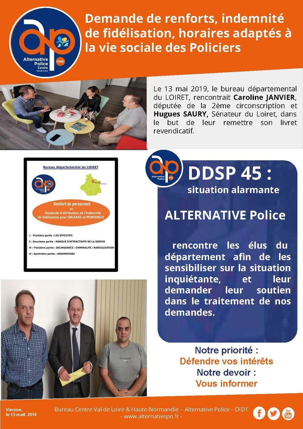 Demande de renforts, indemnité de fidélisation, horaires adaptés à la vie sociale des Policiers