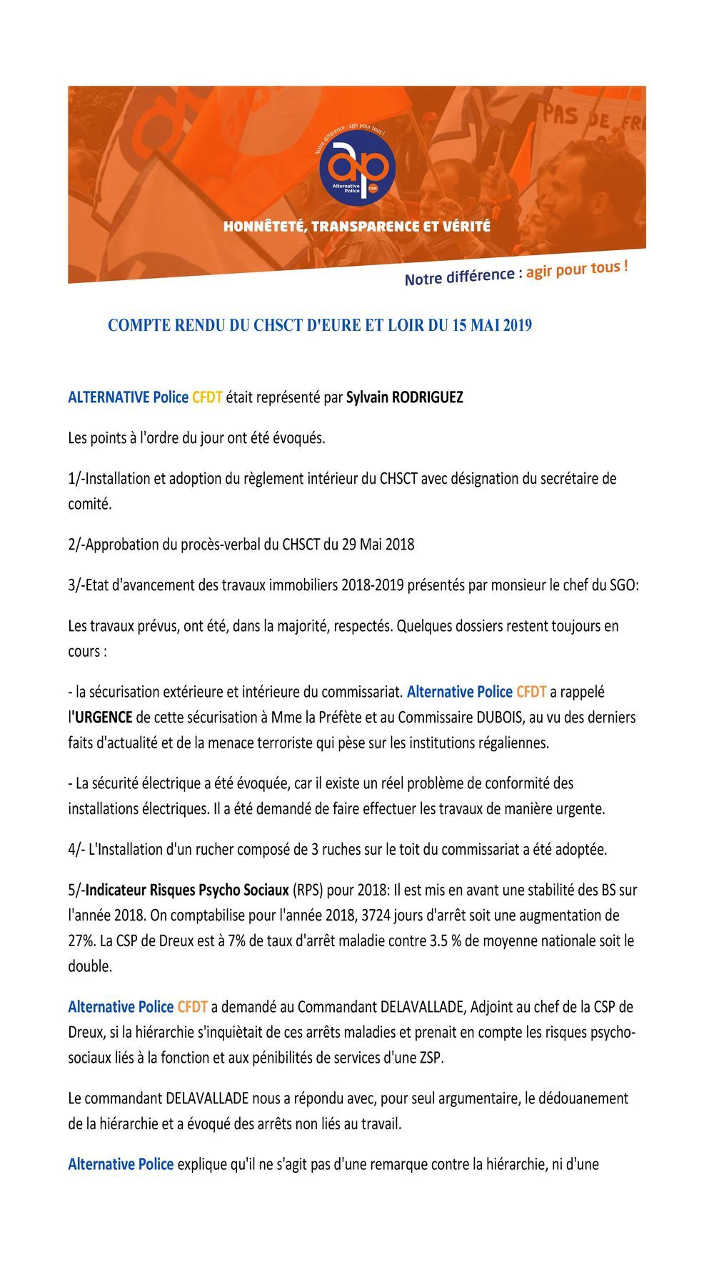 COMPTE RENDU DU CHSCT D'EURE ET LOIR DU 15 MAI 2019