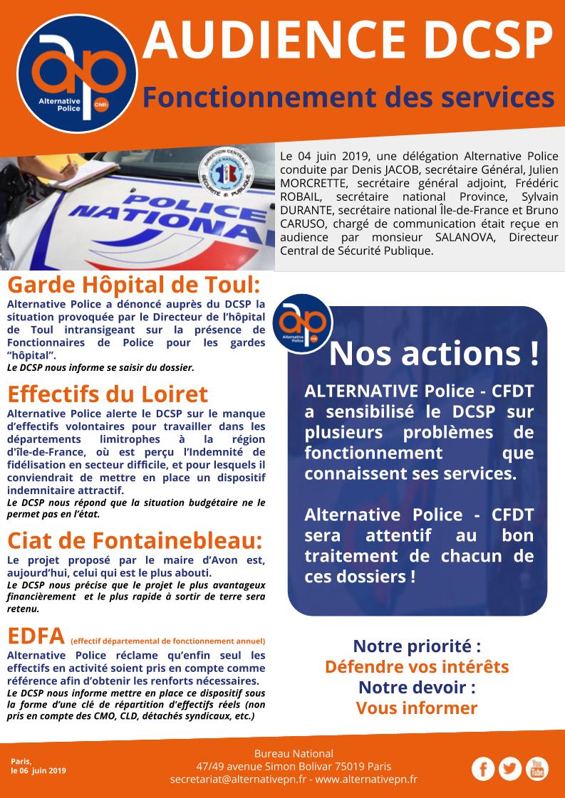 AUDIENCE DCSP : fonctionnement des services