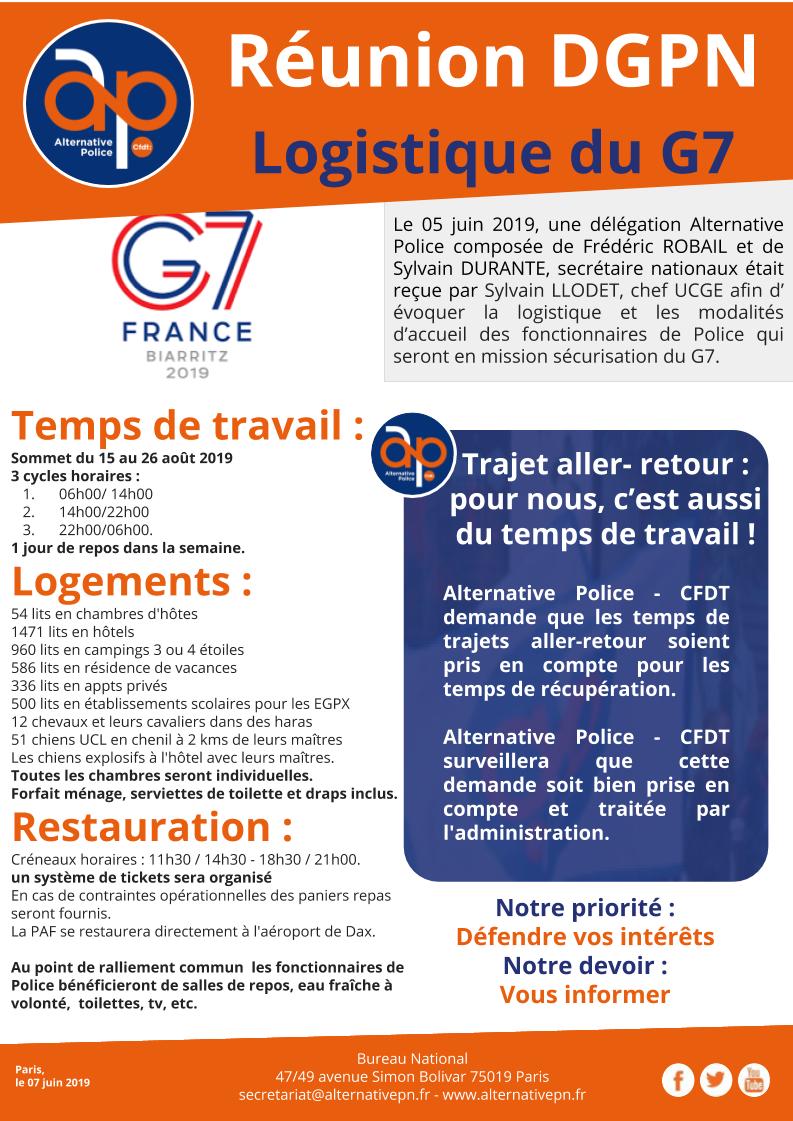 Réunion DGPN : Logistique du G7