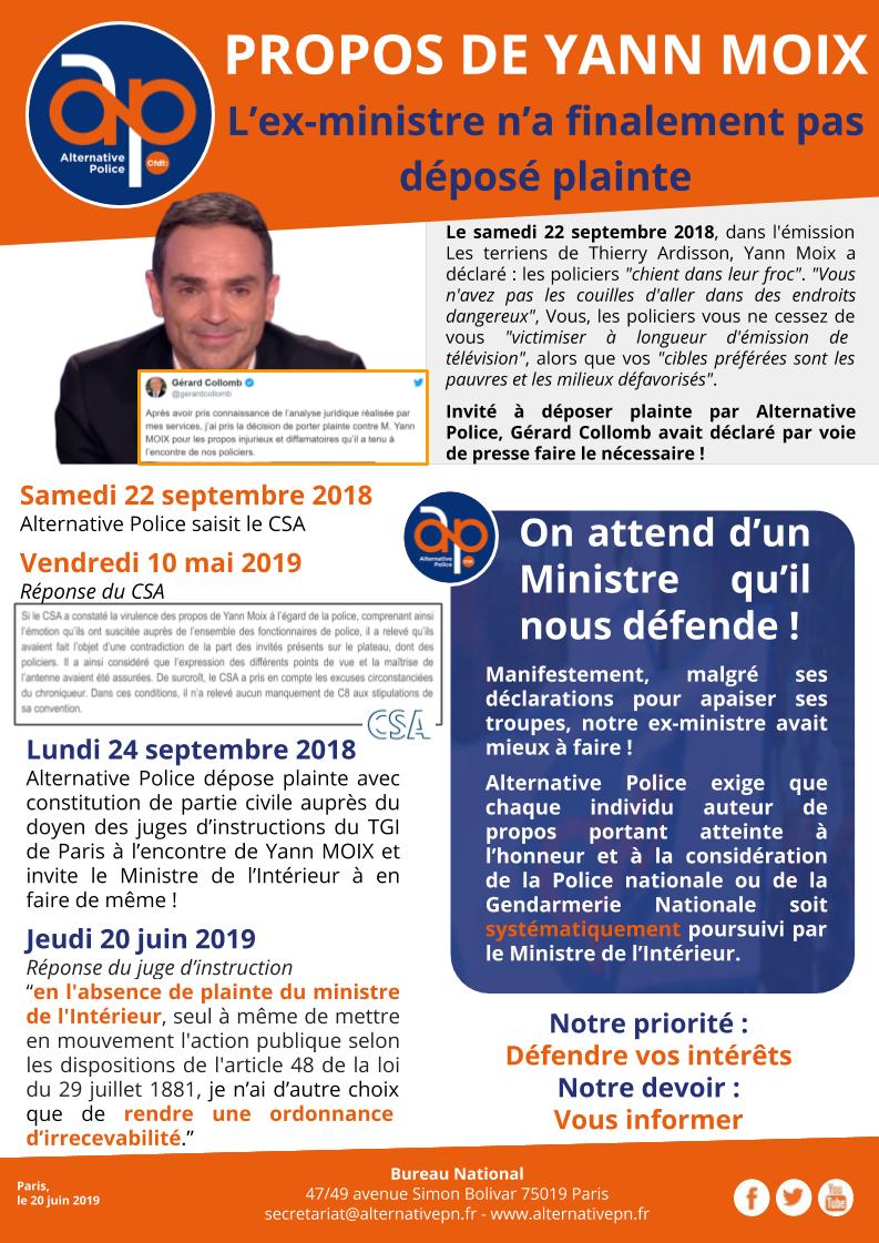 PROPOS DE YANN MOIX : l'ex-ministre n'a finalement pas déposé plainte