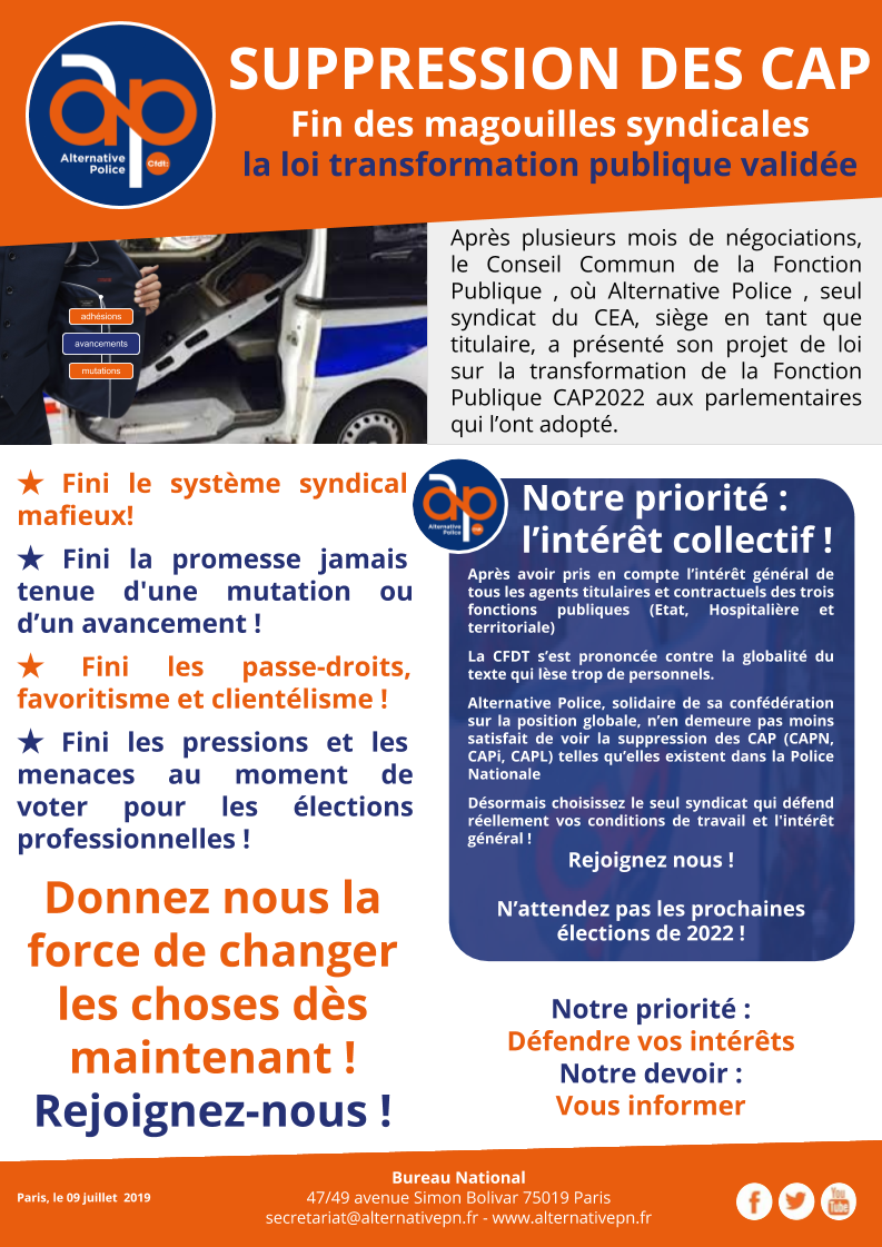SUPPRESSION DES CAP Fin des magouilles syndicales
