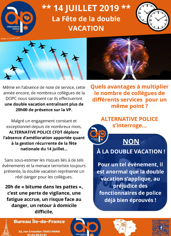 14 JUILLET 2019 : La Fête de la double  VACATION