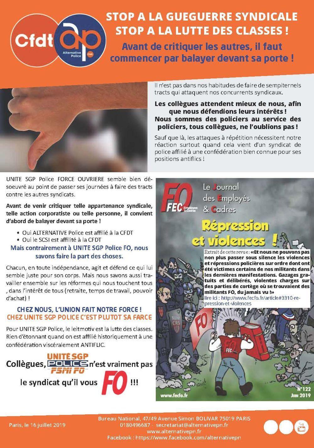 Unité SGP Police, le syndicat qu'il ne vous FO pas !