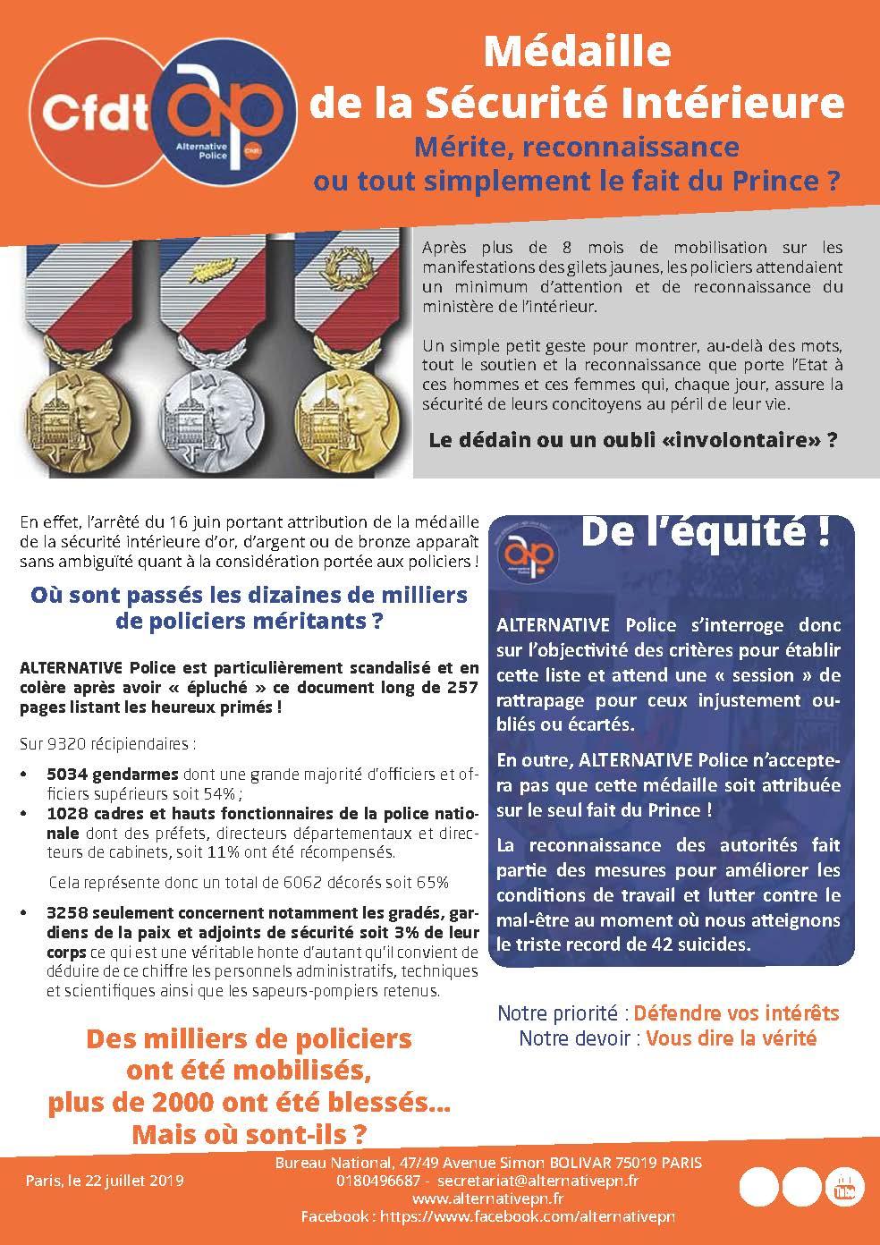 Médaille de la Sécurité Intérieure - MSI