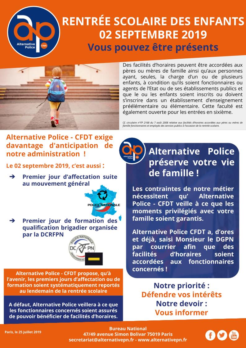RENTRÉE SCOLAIRE DES ENFANTS DU 02 SEPTEMBRE 2019