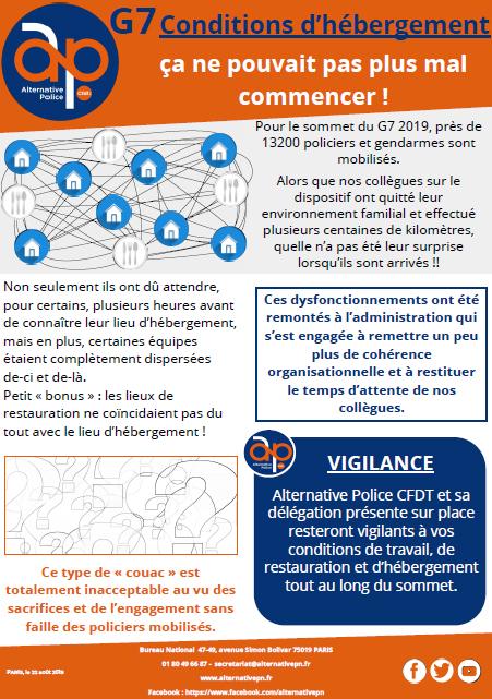 G7 : conditions d'hébergement