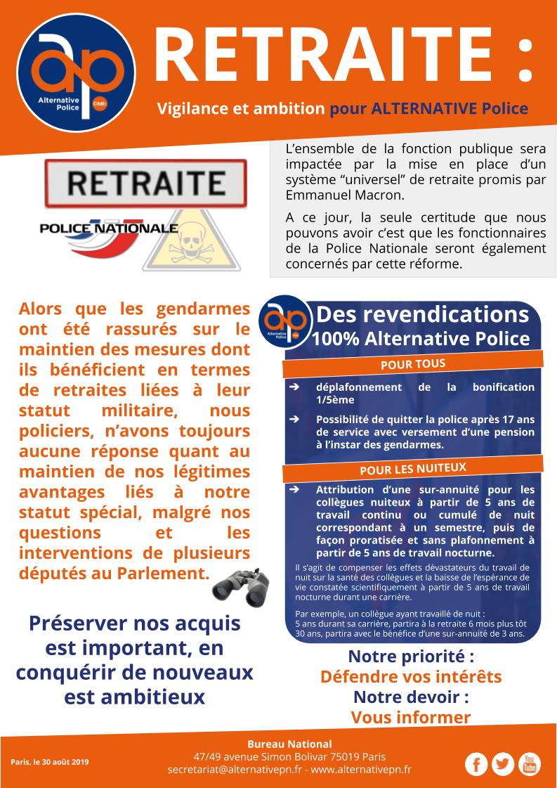 RETRAITE :  Vigilance et ambition pour ALTERNATIVE Police