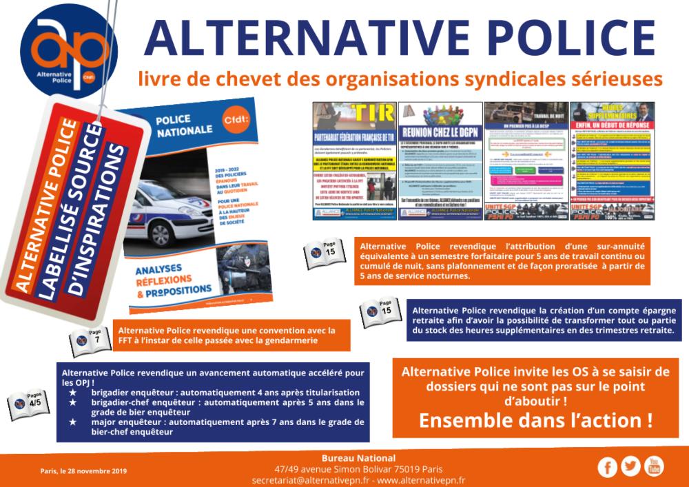 ALTERNATIVE POLICE livre de chevet des organisations syndicales sérieuses