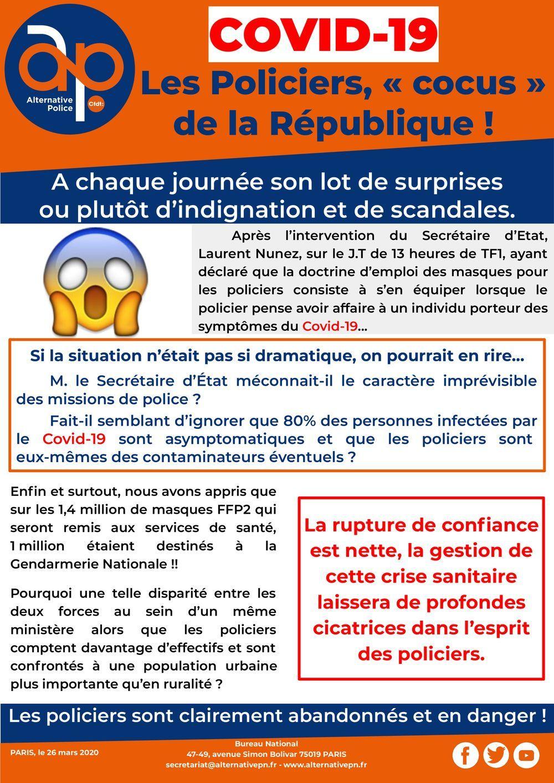 Coronavirus : Les policiers, Cocus de la République !