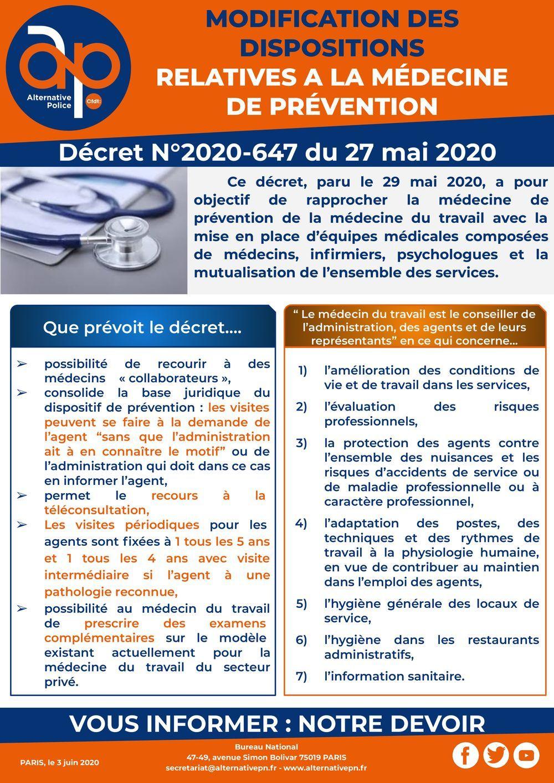 Modification des dispositions relatives à la médecine de prévention dans la fonction publique d'état