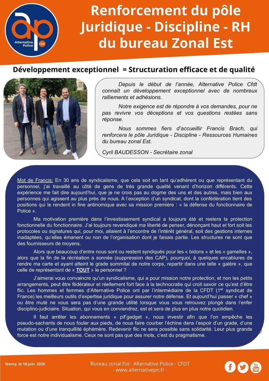 Renforcement du pôle Juridique - Discipline – RH du bureau Zonal Est