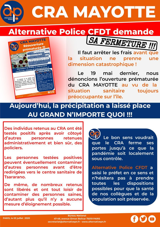 CRA MAYOTTE : Alternative Police CFDT demande sa fermeture !!!