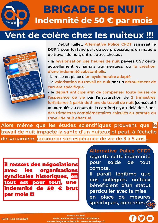 BRIGADE DE NUIT : indemnité de 50 € par mois !!!