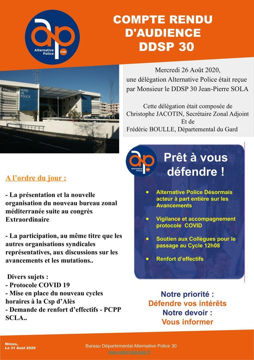 COMPTE RENDU D'AUDIENCE DDSP 30