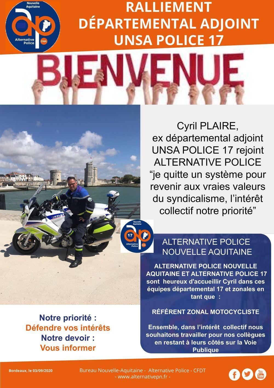 Nouvelle-Aquitaine : Ralliement départemental adjoint UNSA Police 17