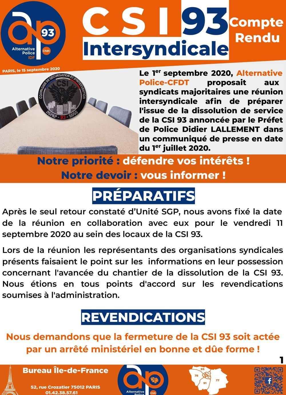 CSI93 Intersyndicale : compte-rendu
