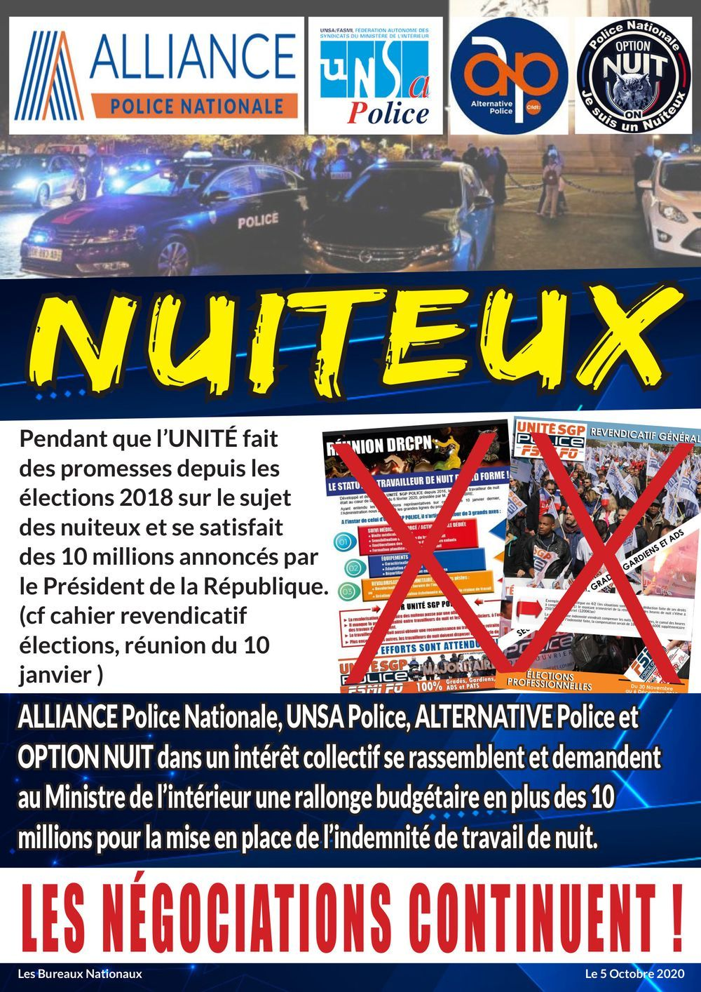 Action intersyndicale pour défendre les nuiteux !