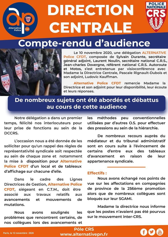 DCCRS : compte-rendu d'audience