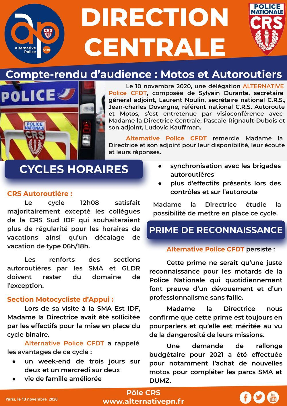 DCCRS - compte-rendu d'audience : autoroutiers et motos