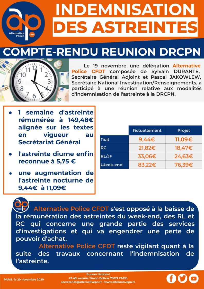 Indemnisation des astreintes : compte-rendu de la réunion avec la DRCPN