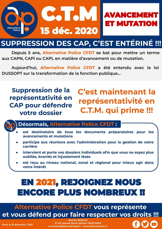 C.T.M. du 15 décembre 2020 : suppression des CAP pour les avancements et mutations